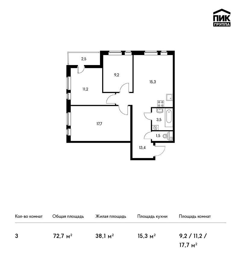 Планировка Трёхкомнатная квартира площадью 72.7 кв.м в ЖК «Московский квартал»